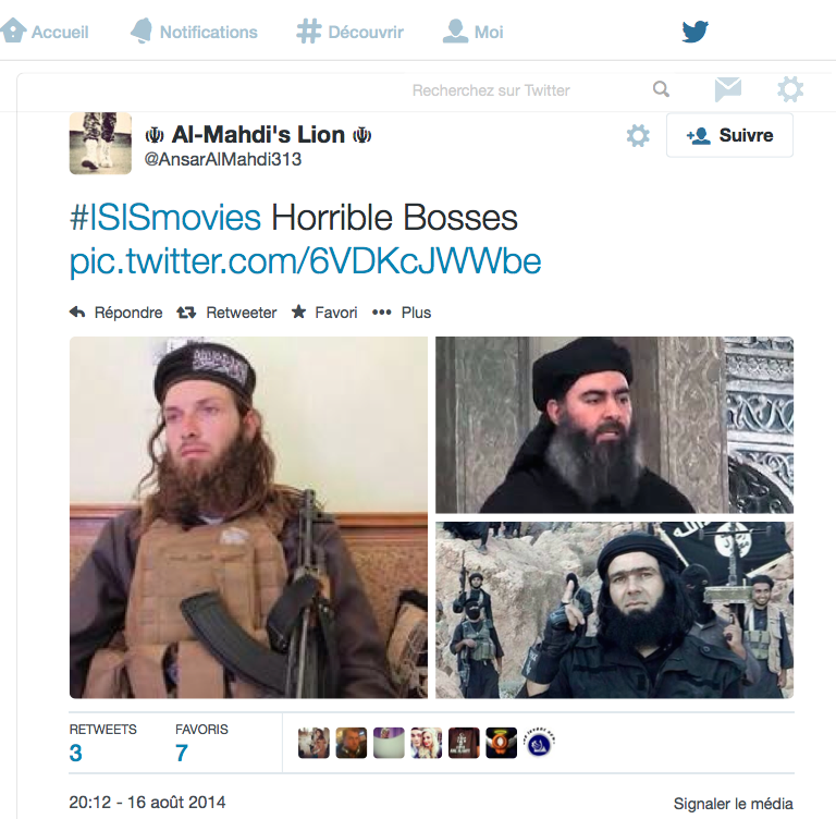 'Horrible Bosses' capture d'écran du flux Twitter #ISISmovies.