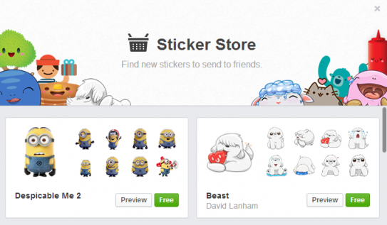 Sticker store, Messenger, 2013