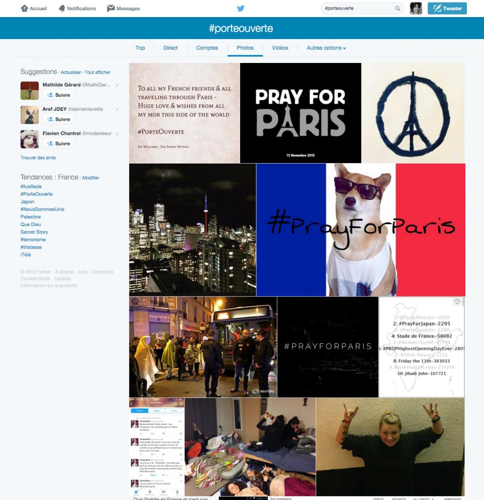 #porteouverte. Capture d'écran des réultats en photos sur Twitter français. 3hrs16.