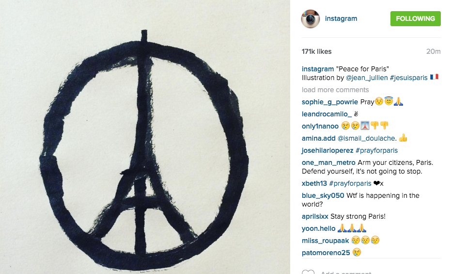 """Peace for Paris"", de Jean Julien. Compte Instagram. capture d'écran, 14/11/15"