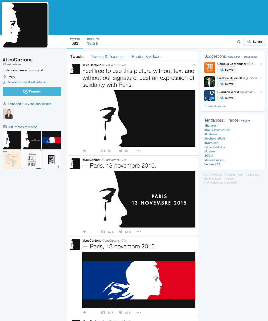 Les Cartons. Twitter 14/11/15